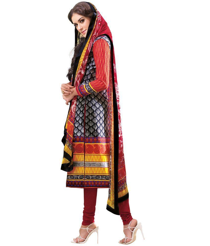 Shelina Blue Cotton Printed Dress Material