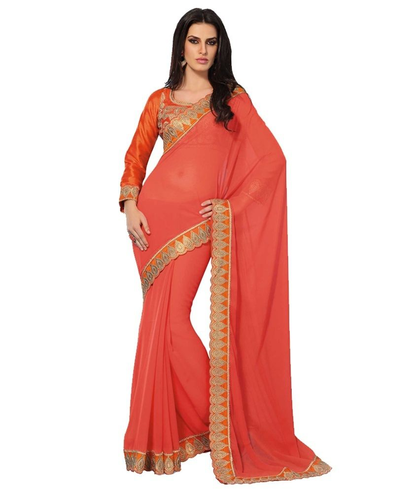 eea47433a Subhash Sarees Embroidered Semi Chiffon Orange Saree - Buy Subhash Sarees  Embroidered Semi Chiffon Orange Saree Online at Low Price - Snapdeal.com