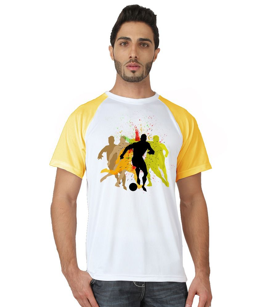 Trionic Men's Printed Round Neck T-shirt - Players - Canary Yellow