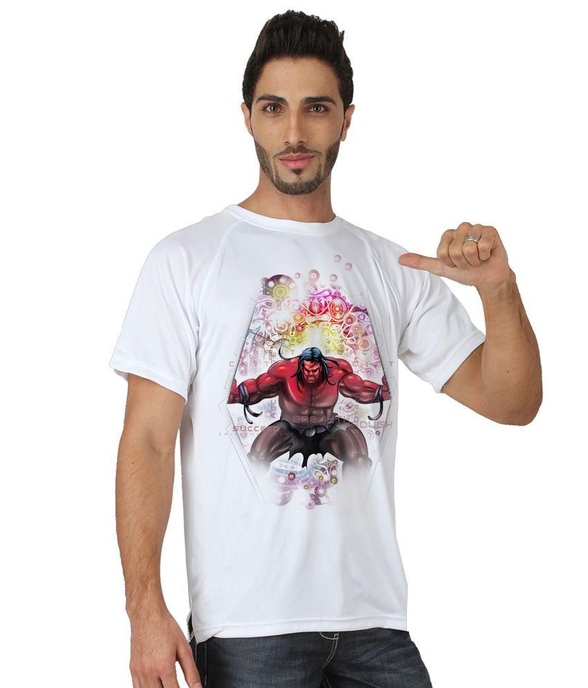 Trionic Men's Printed Round Neck T-shirt - Samson - Snow White