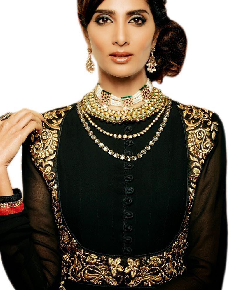 Zoya Black Georgette Anarkali Unstitched Dress Material ...