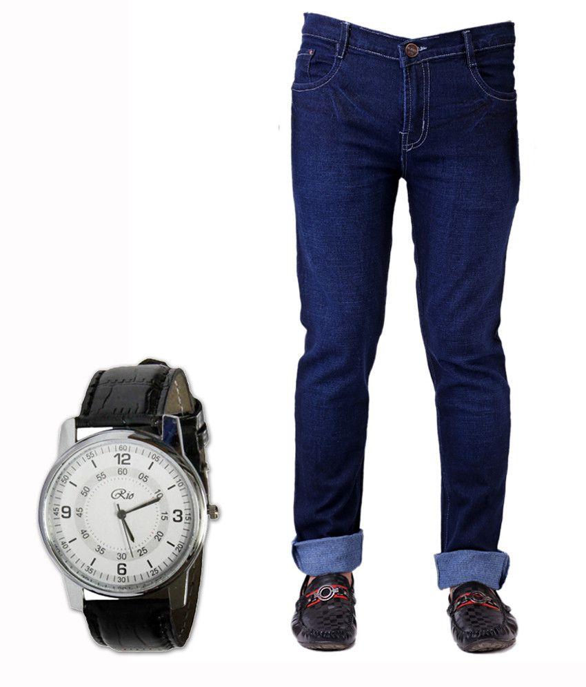 Ansh Fashion Wear Fashion Wear Streachable Blue Denim Jeans With Free Watch