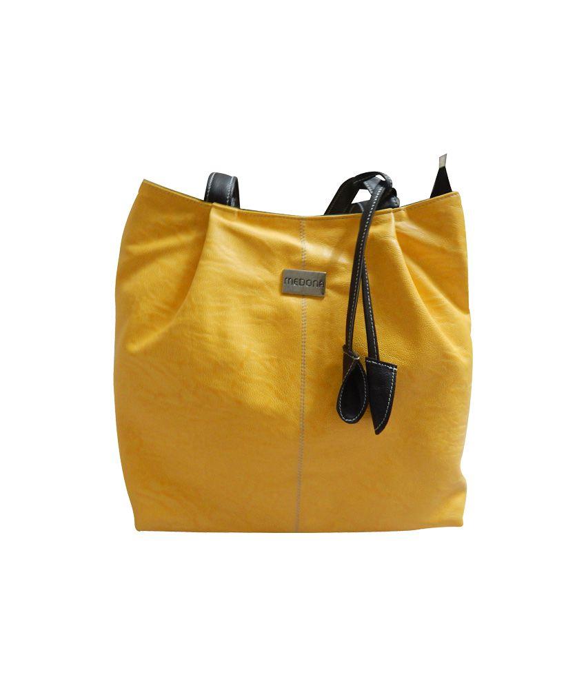 Sasco Enterprises Yellow P.u. Women Handbag