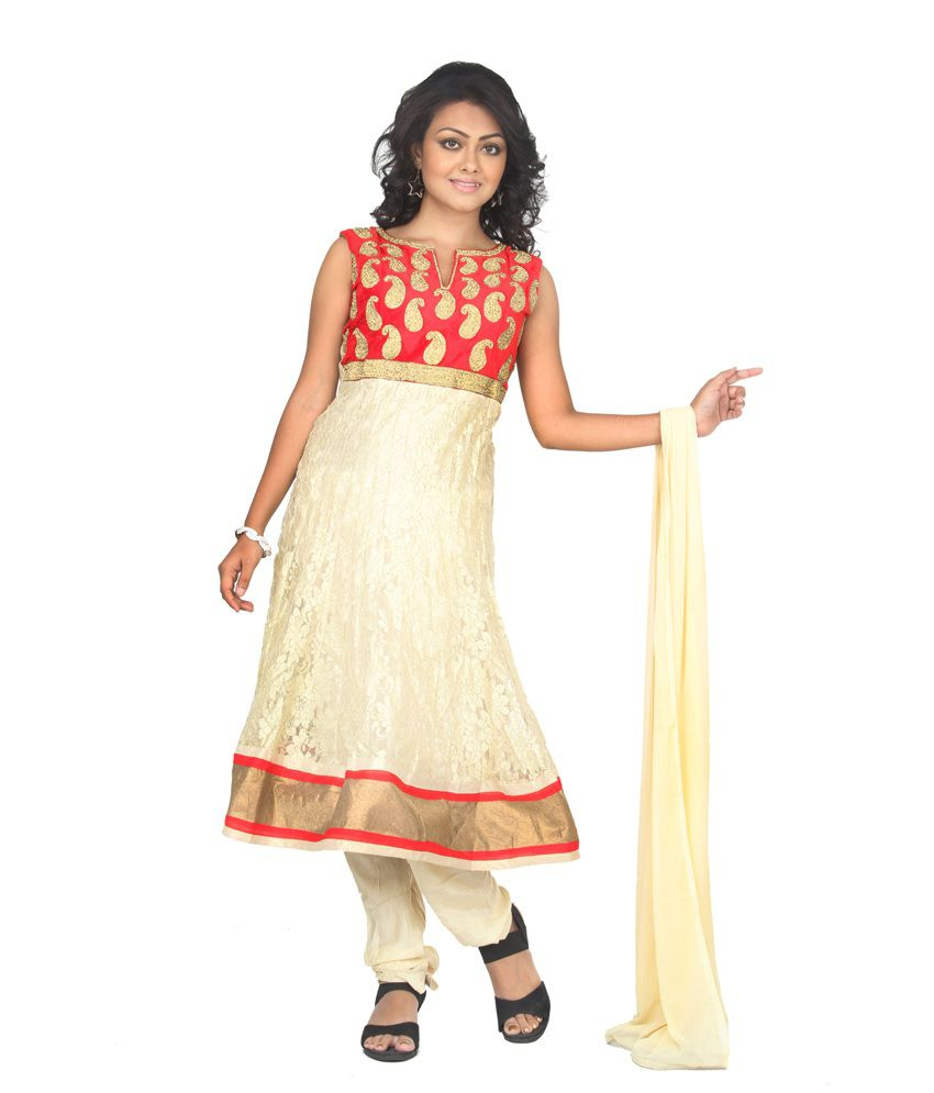 V R Apparels White Net Traditional Wear Embroidered Anarkali