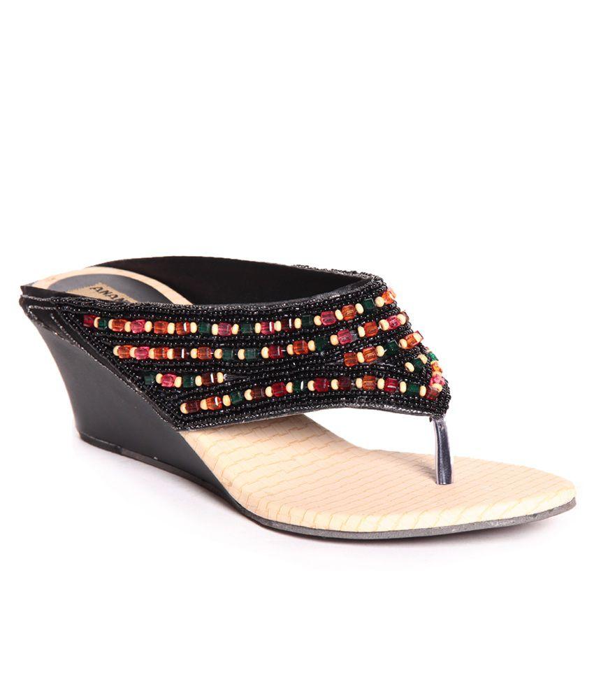 Anand Archies Black Slip-on Heels