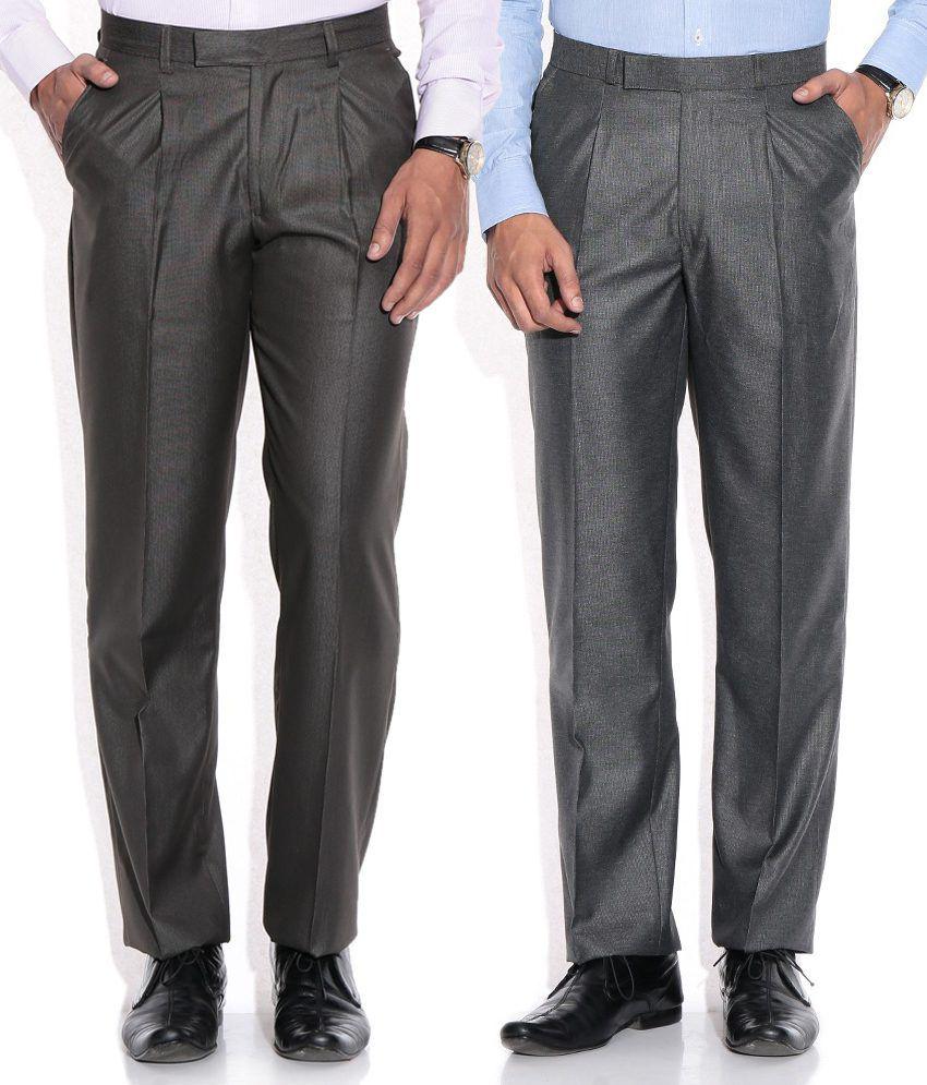 Aumentare Gray Regular Formals Combo Of 2