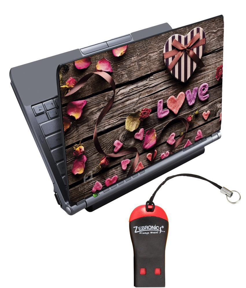 Finearts Textured Laptop Skin With Card Reader - Love Wooden Printed