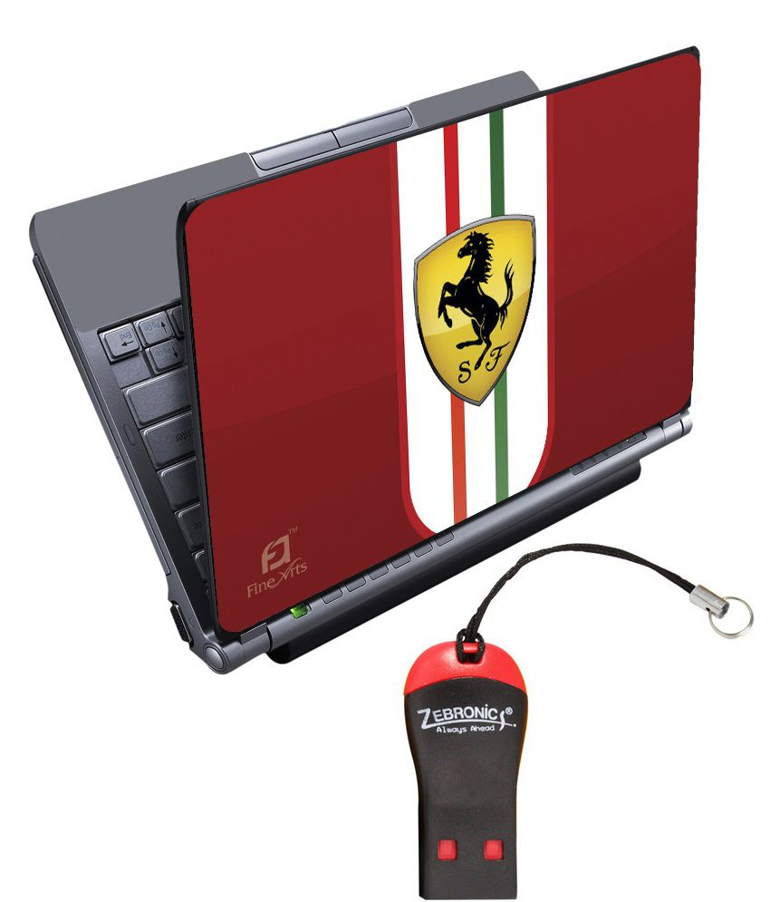 Finearts Textured Laptop Skin With Card Reader - Ferrari Printed