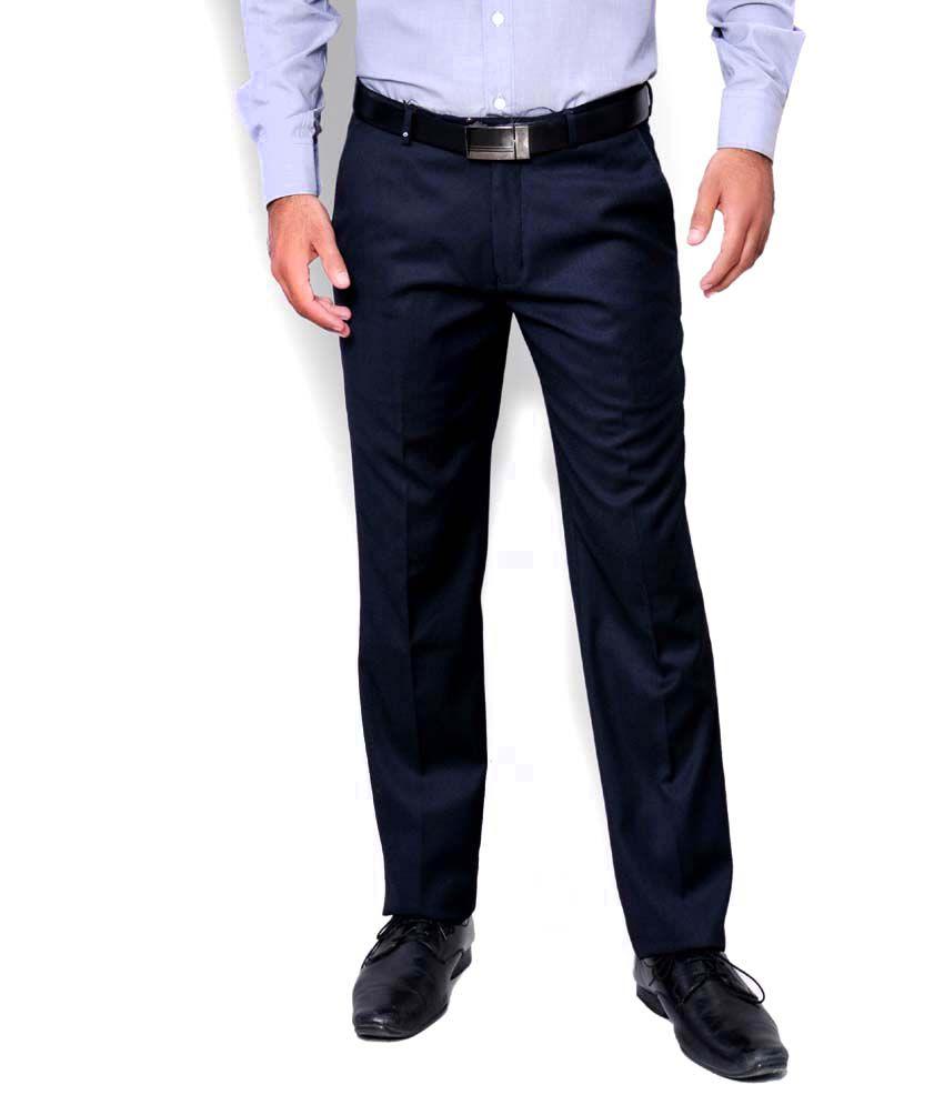 Oxemberg Men Bluish Grey Super Trim Trousers