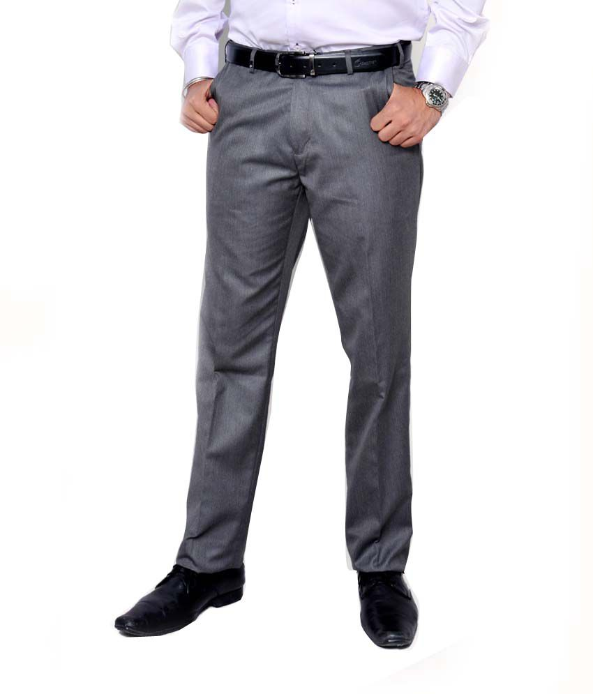 7f133e27a8d Oxemberg Men Light Grey Trim Fit and Flexi-Waist Trousers - Buy Oxemberg Men  Light Grey Trim Fit and Flexi-Waist Trousers Online at Low Price in India -  ...