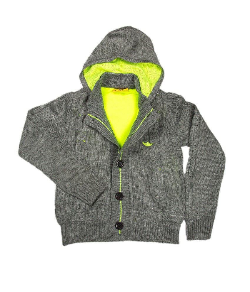 Ufo Grey Color Hooded Sweatshirt For Kids