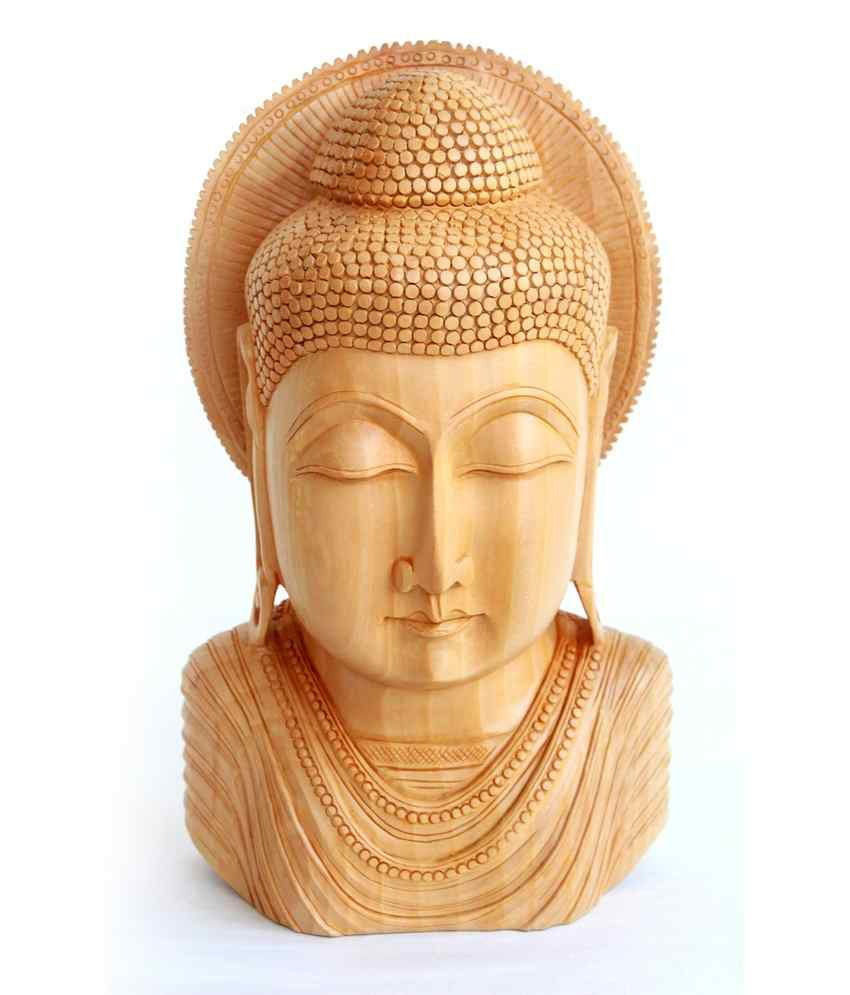 Craftsgallery Wooden Buddha Bust Sculpture For Home Decor - 12 Inch