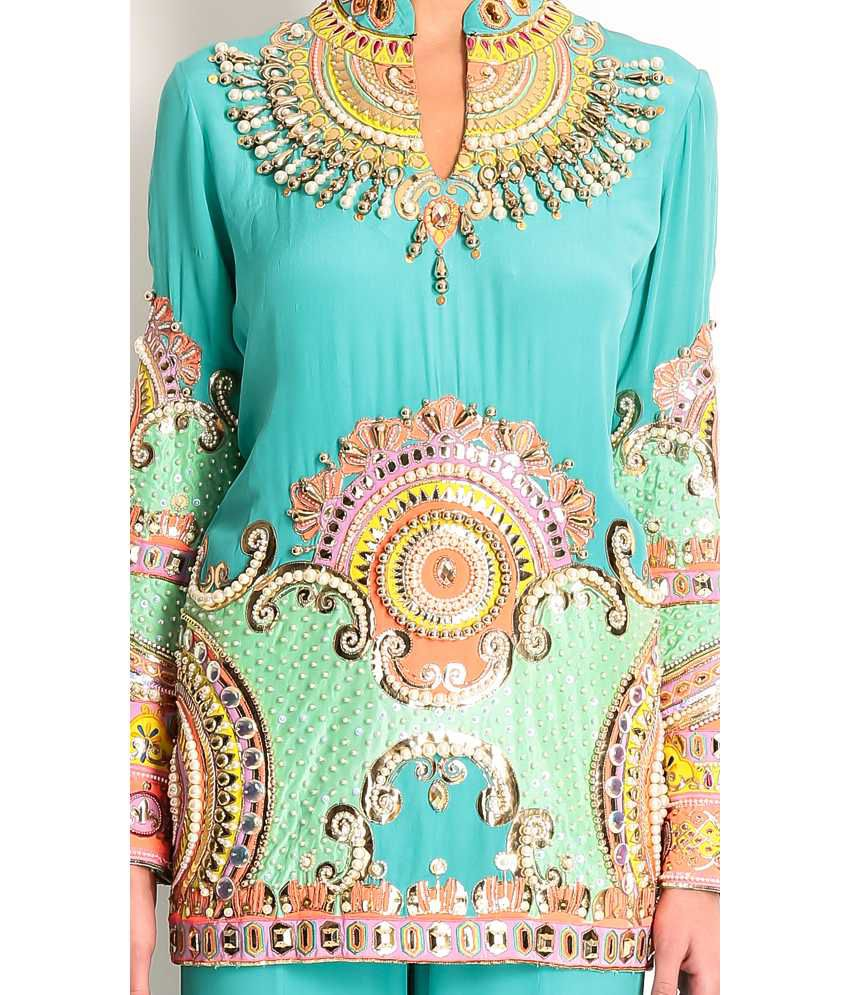 Manish Arora Blue Silk Rexine And Fabric Applique Embroidered