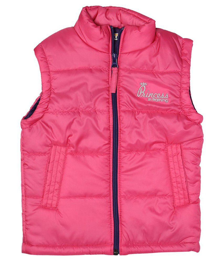 People Quilted Pink Sleeveless Zipper Jacket