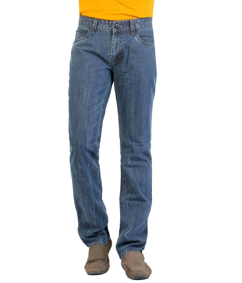 Aliep Grey 100% Cotton Regular Fit Jeans For Men   Alpjs27