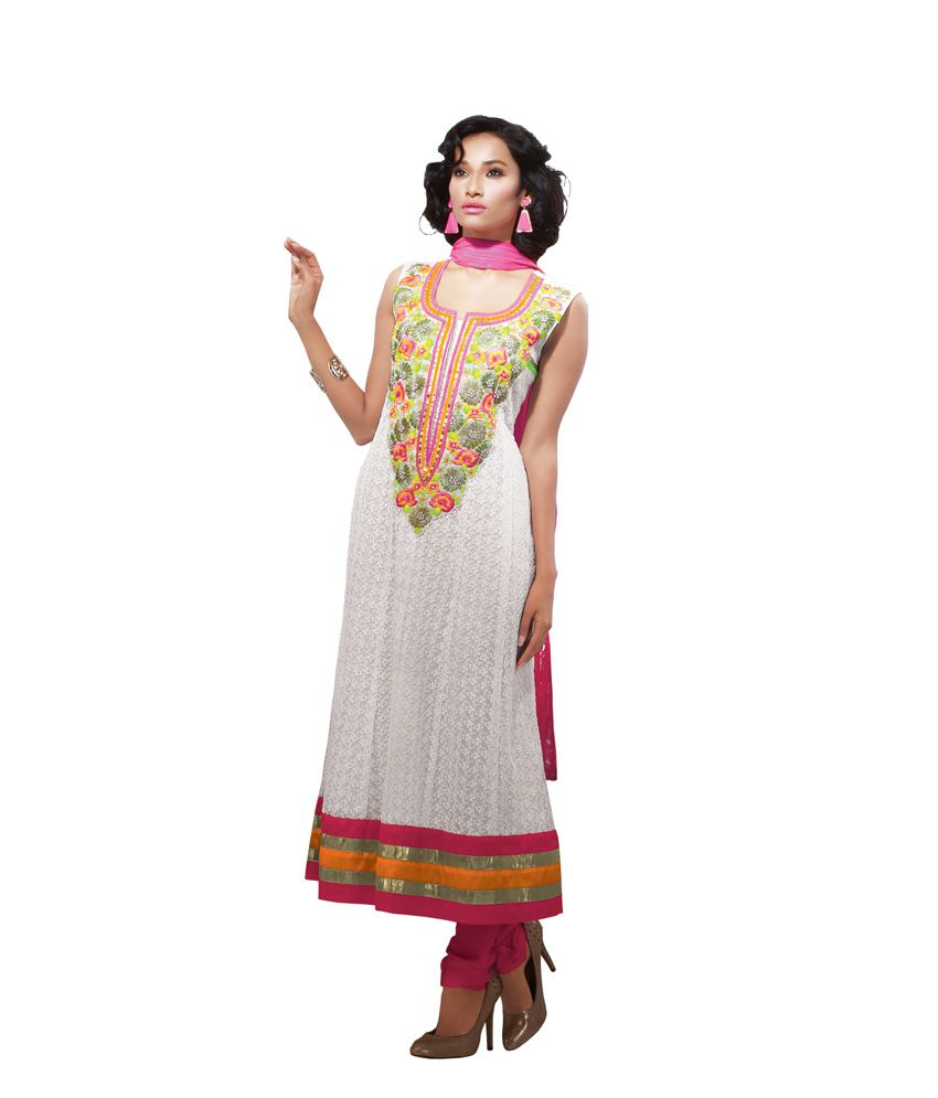 f42c86d62b1e Esika White Net Hand Embroidery Anarkali - Buy Esika White Net Hand  Embroidery Anarkali Online at Best Prices in India on Snapdeal