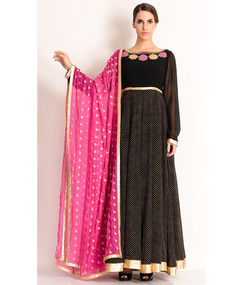 Manish Arora Gorgeous Black Anarkali With Yoke And Applique