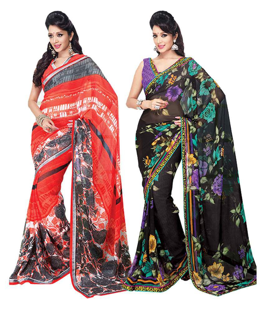 Ethnicbasket Multicolour Faux Georgette Printed Saree With Blouse Piece - Combo Of 2