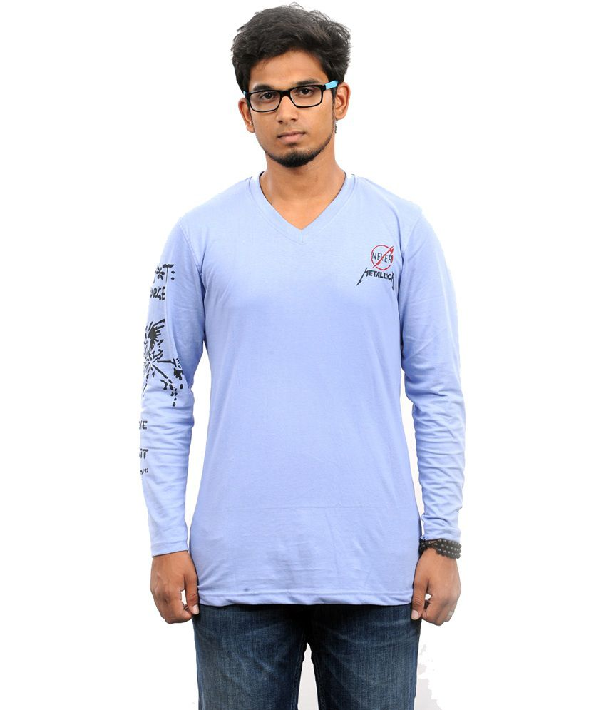 Stylefox Cotton Light Blue Graphic Printed Tshirt For Men