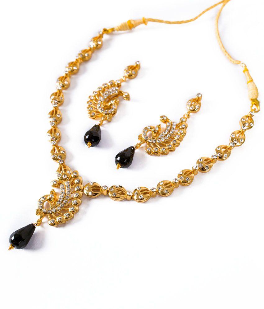 Taj Pearl Gold Plated Modern Design Necklace Set Black Buy Taj