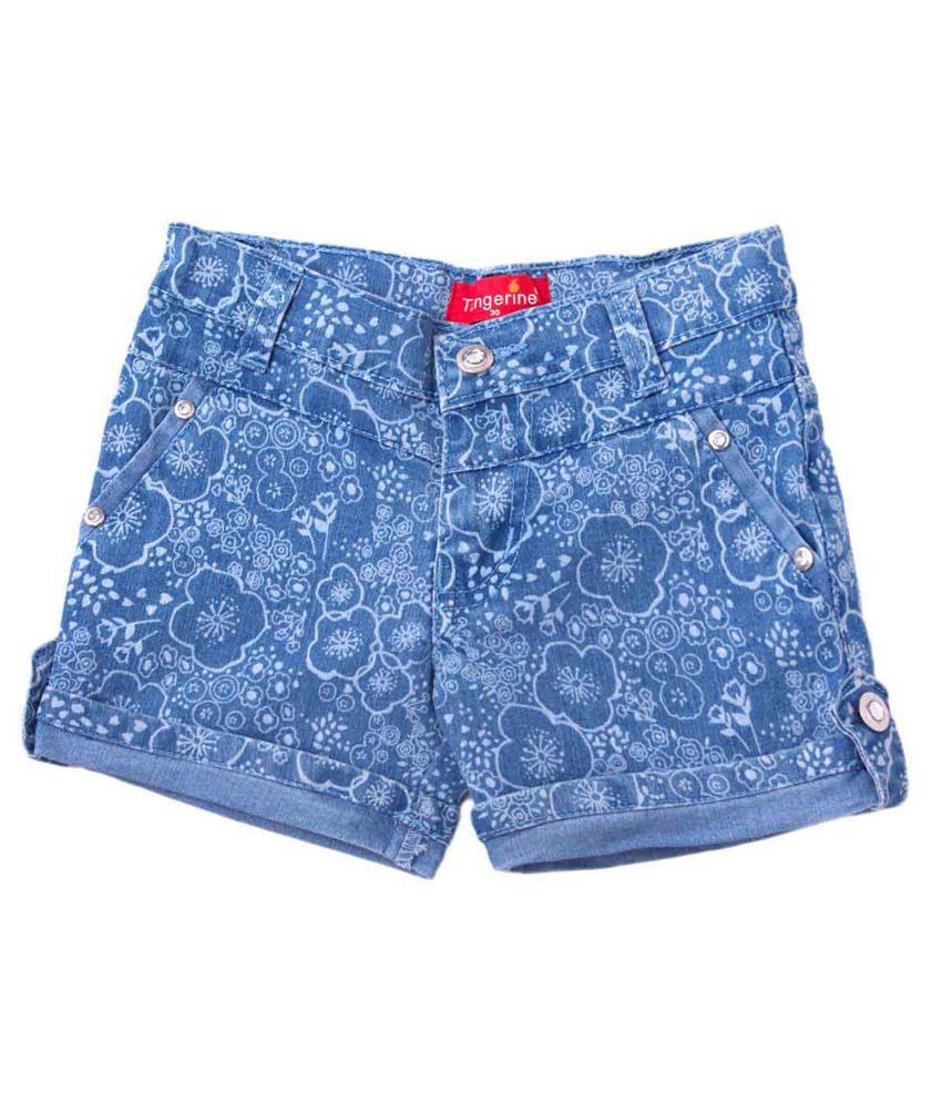 Tangerine Blue Cotton Denim Floral Shorts
