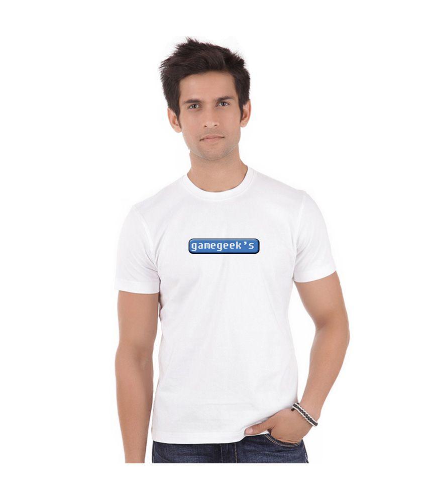 Bluegape White Printed Round Neck Half T-shirt