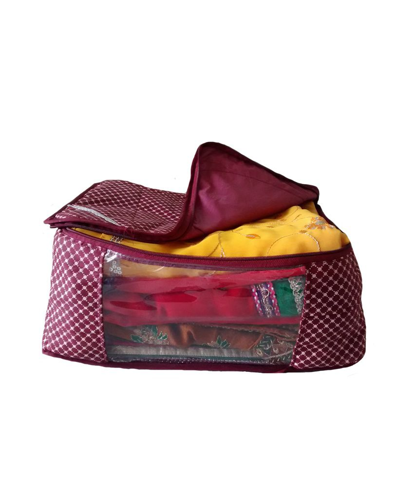 Indi Bargain Maroon 3 Layered Quilted Printed Transparent Multi Saree Cover (10-15 Sarees Capacity)