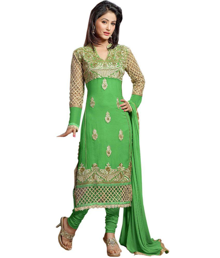 Khantil gorgeous wedding parrot green anarkali dress for Wedding dress material online