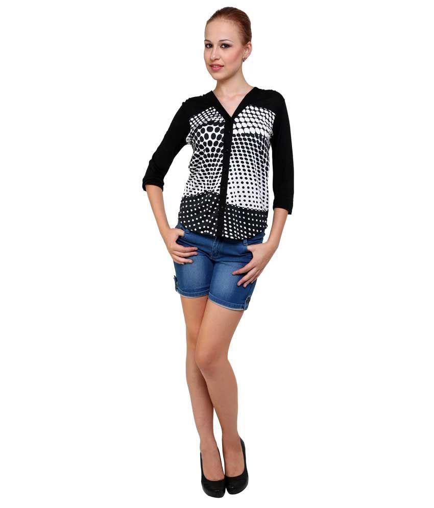 Anasazi Multi Printed Viscose 3/4th Sleeves V Neck Neck Shirt