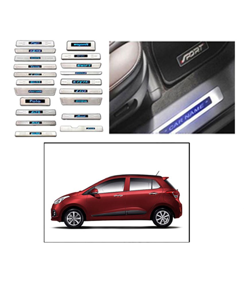 Car Door Sill Scuff Plate For Hyundai Grand I10 With Blue