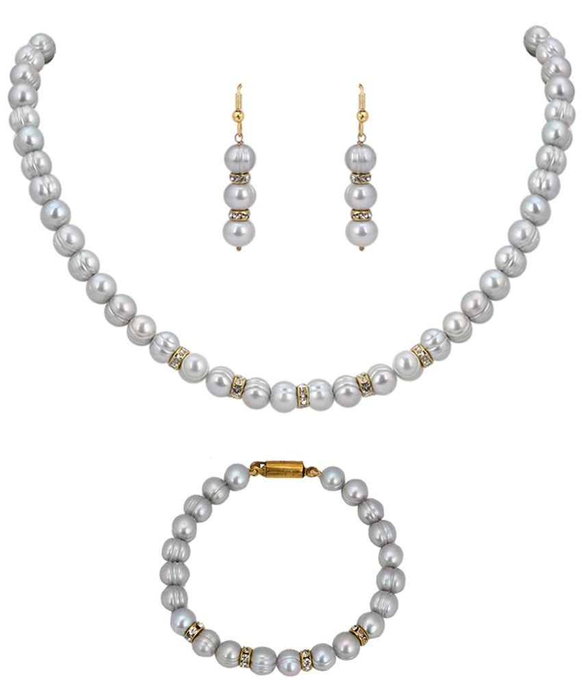 39b53e234 Dd Pearls Original Grey Pearl Necklace Bracelet Set - Buy Dd Pearls Original  Grey Pearl Necklace Bracelet Set Online at Best Prices in India on Snapdeal