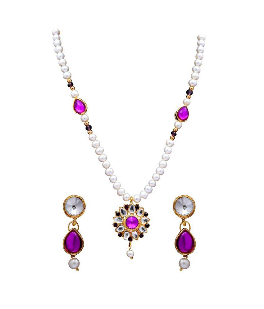 Dd Pearls Semi Precious Beautiful Freshwater Pearls & Purple Kundan Pendant Set For Women
