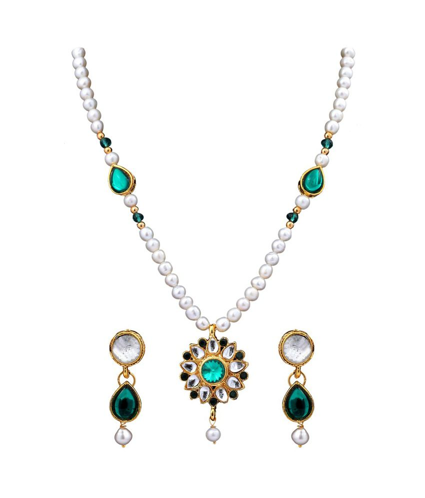 Dd Pearls Semi Precious Beautiful Freshwater Pearls & Green Kundan Pendant Set For Women