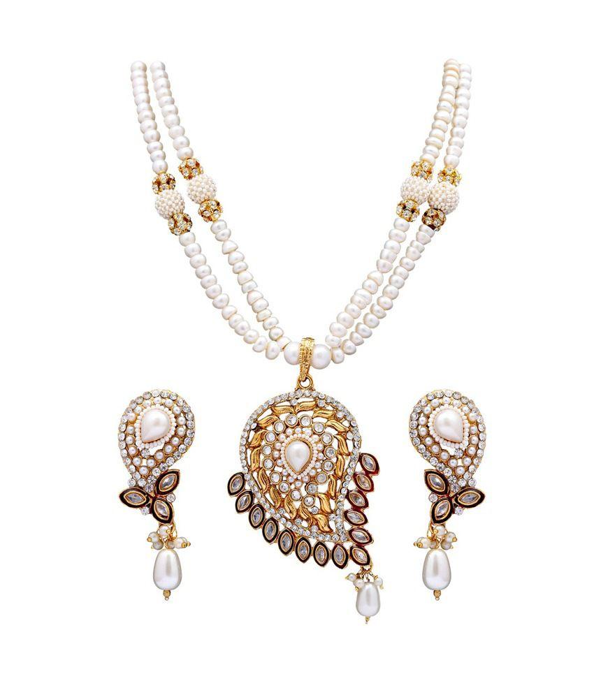 Dd Pearls Semi Precious Chaming White Pearls & American Diamond Pendant Earrings Set For Women