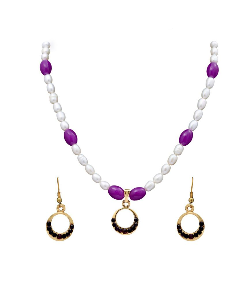 Dd Pearls Semi Precious Stately Pink Freshwater Pearls & Cz Pendant Earrings Set For Women