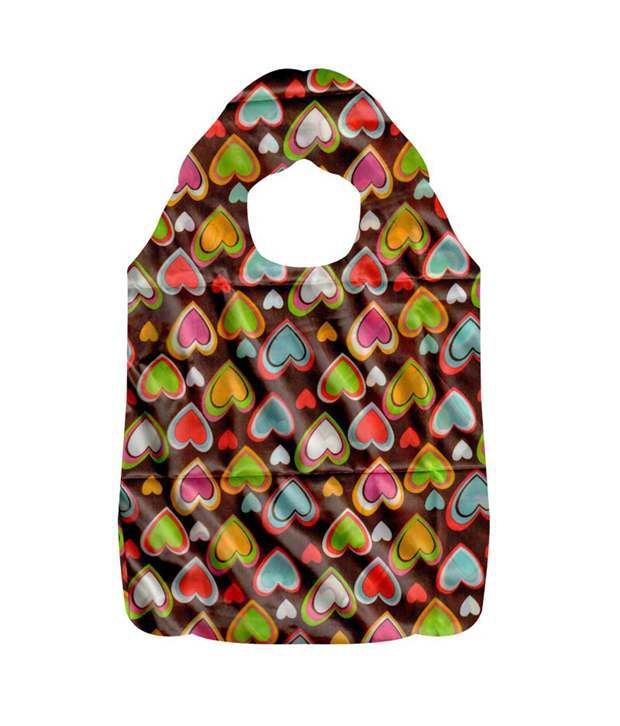 Jewelz Heart Shape Printed Multicolored Water Proof Shopping Bag