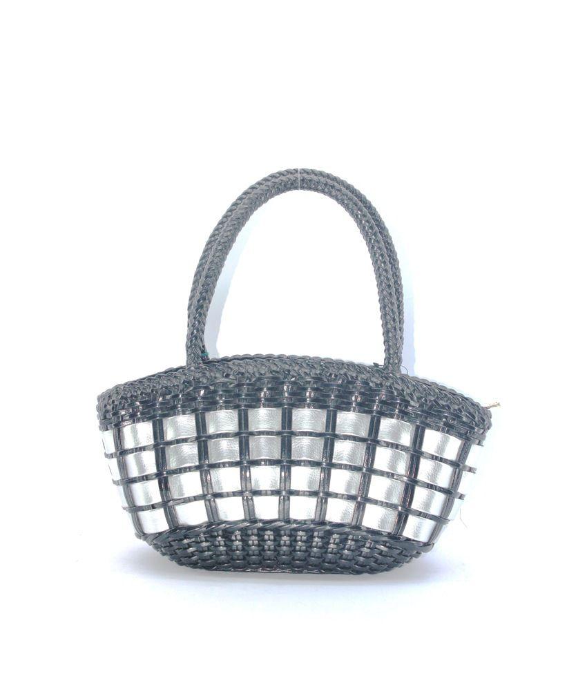 Plasto Art Black & Silver Ladies Handbag ( 271 )