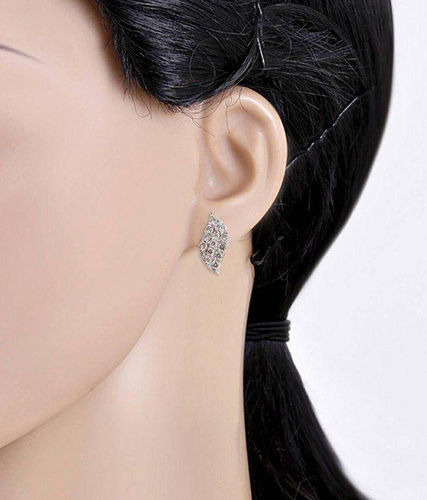 Shashvat Jewels 9kt Gold Cluster Hallmarked Diamond Cluster Leaf Earring