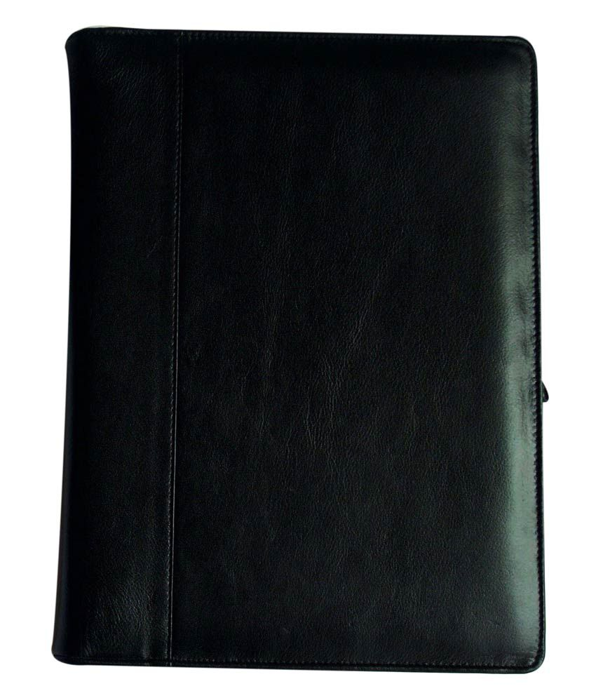 Ali Exports Black Leather Hard Bound Zipper File