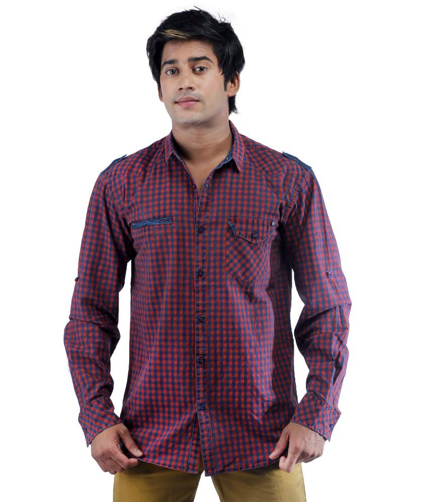 Just I Red Cotton Full Sleeves Shirt