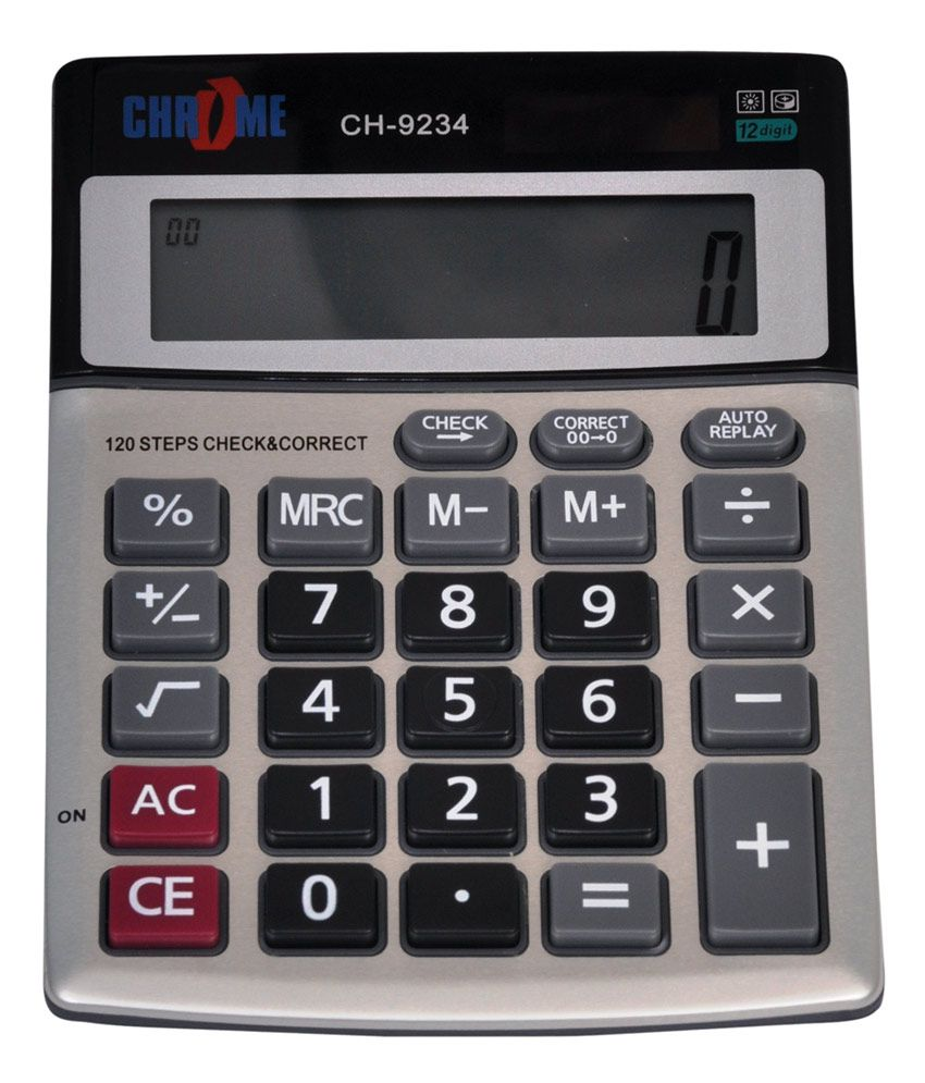Chrome Basic Mathematic Calculator Set of 2 Pcs: Buy Online