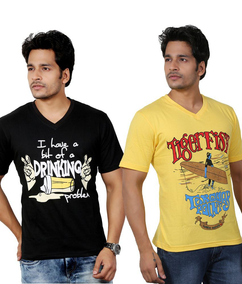 Eco Trend Black-Yellow Cotton V Shape Printed-Biowash Half Sleeves tshirt combo pack of 2 For Men | ECO114C116