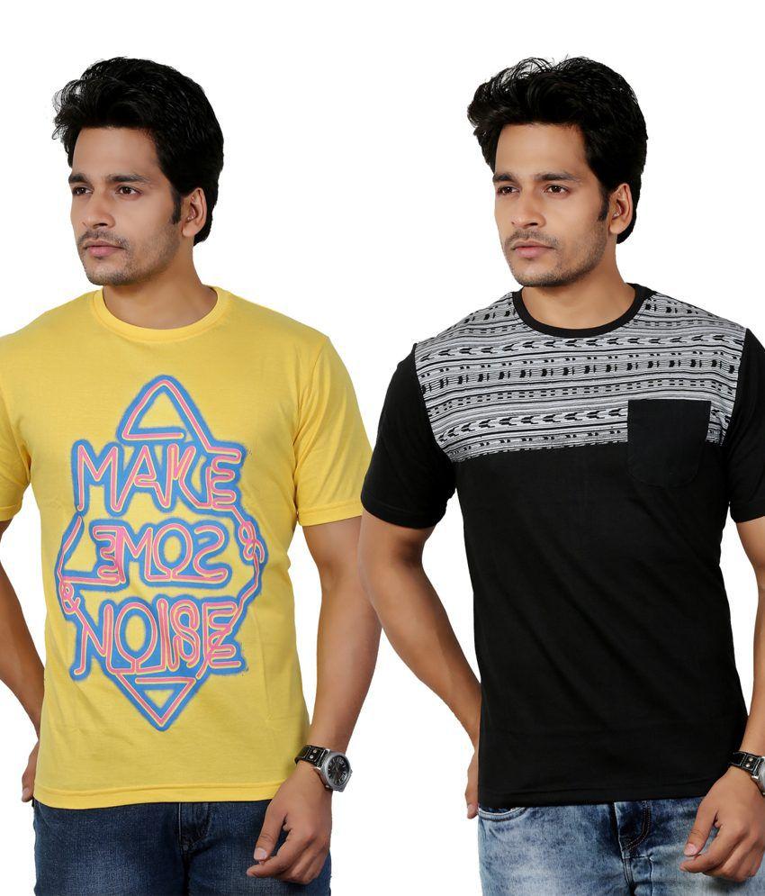 Eco Trend Yellow-Black Cotton Round Shape Printed-Biowash Half Sleeves tshirt combo pack of 2 For Men | ECO106C108