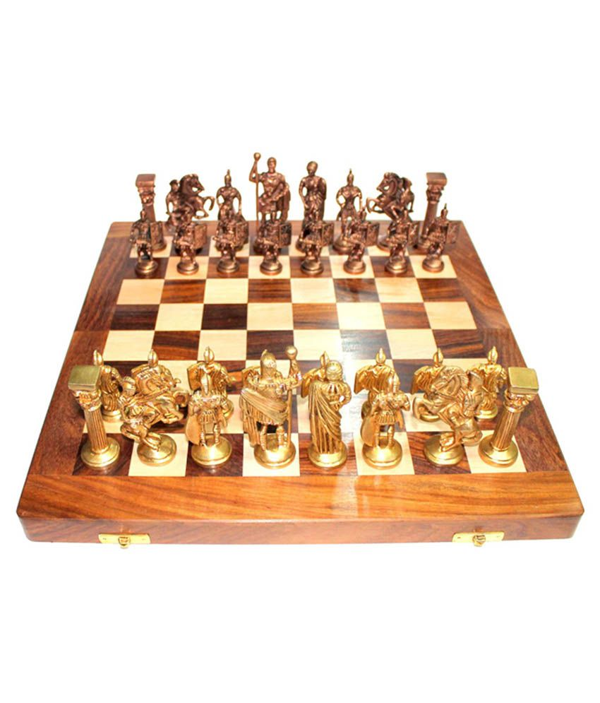 Vintage 14 39 39 14 39 39 wooden chess board with brass roman Where can i buy a chess game