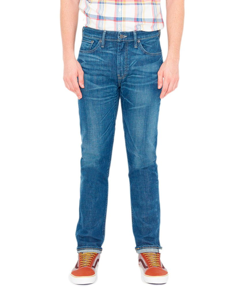 Levis Blue Cotton Blend Slim Fit Jeans For Men