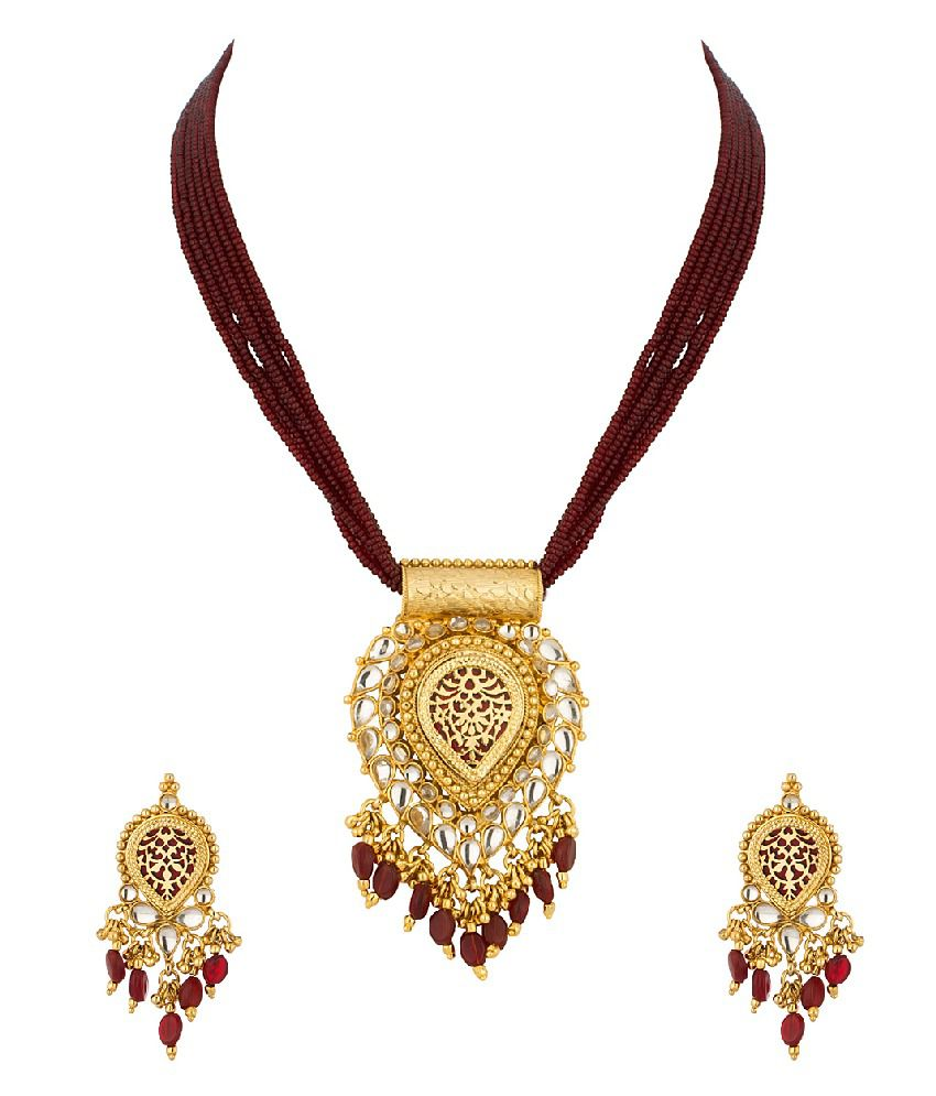 Voylla Thewa Necklace Set With Brown Colored Enamel Work
