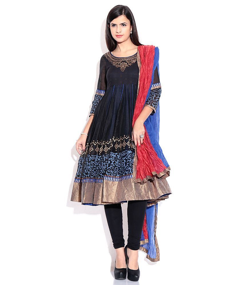 Biba Black Plain Cotton & Silk Stitched  Salwar Suit
