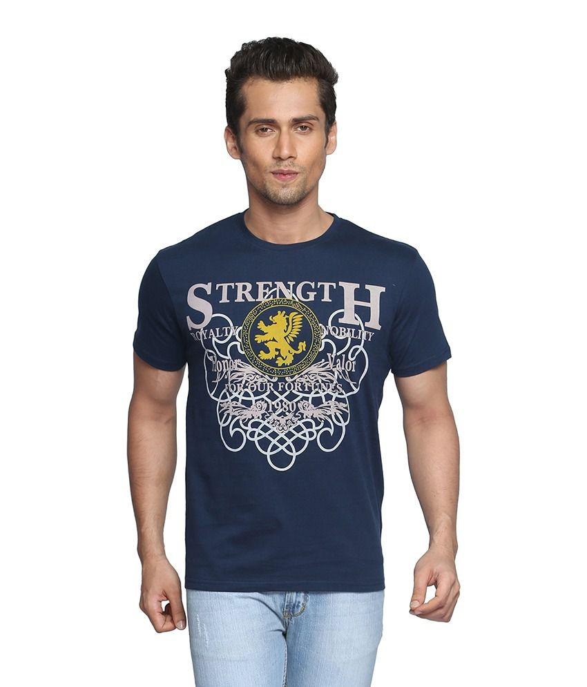 Globus Blue Half Sleeves Cotton Round T-shirt
