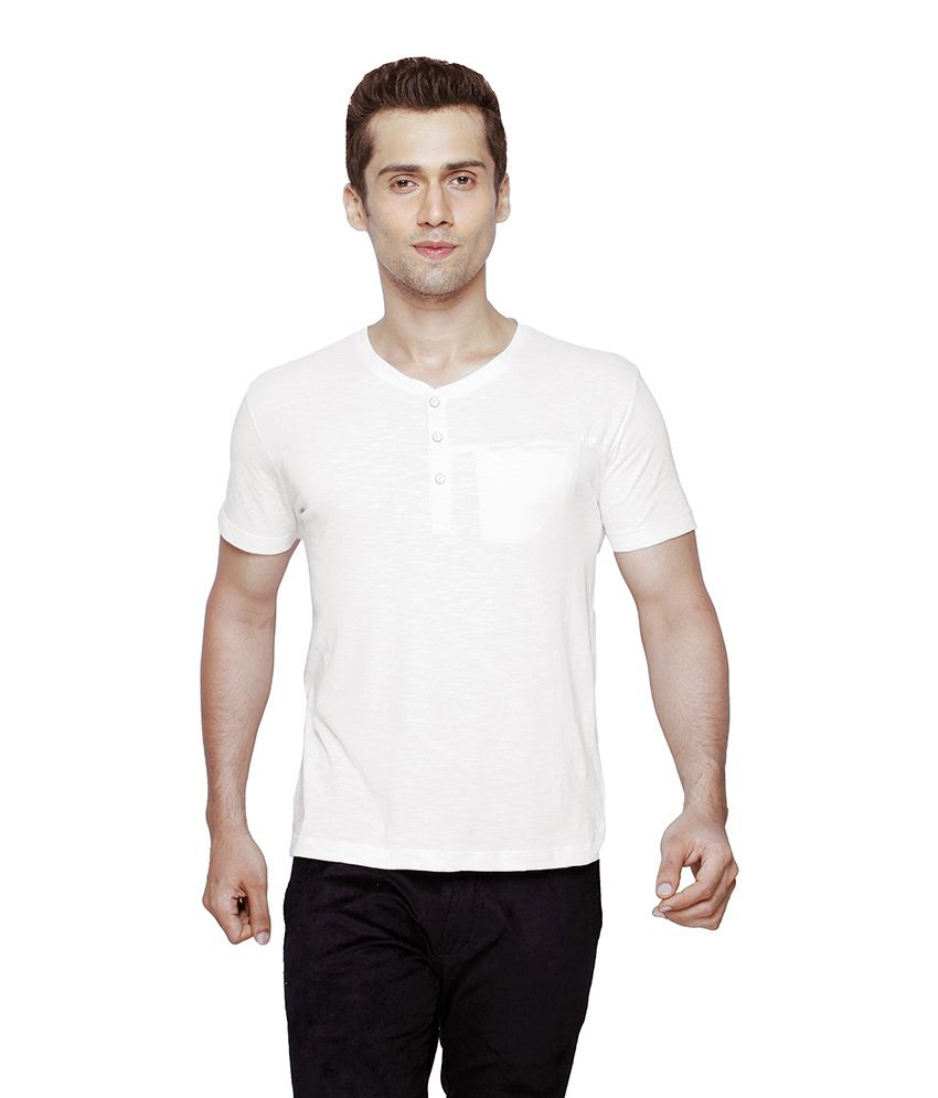 Globus White Half Sleeves Cotton Henley T-shirt