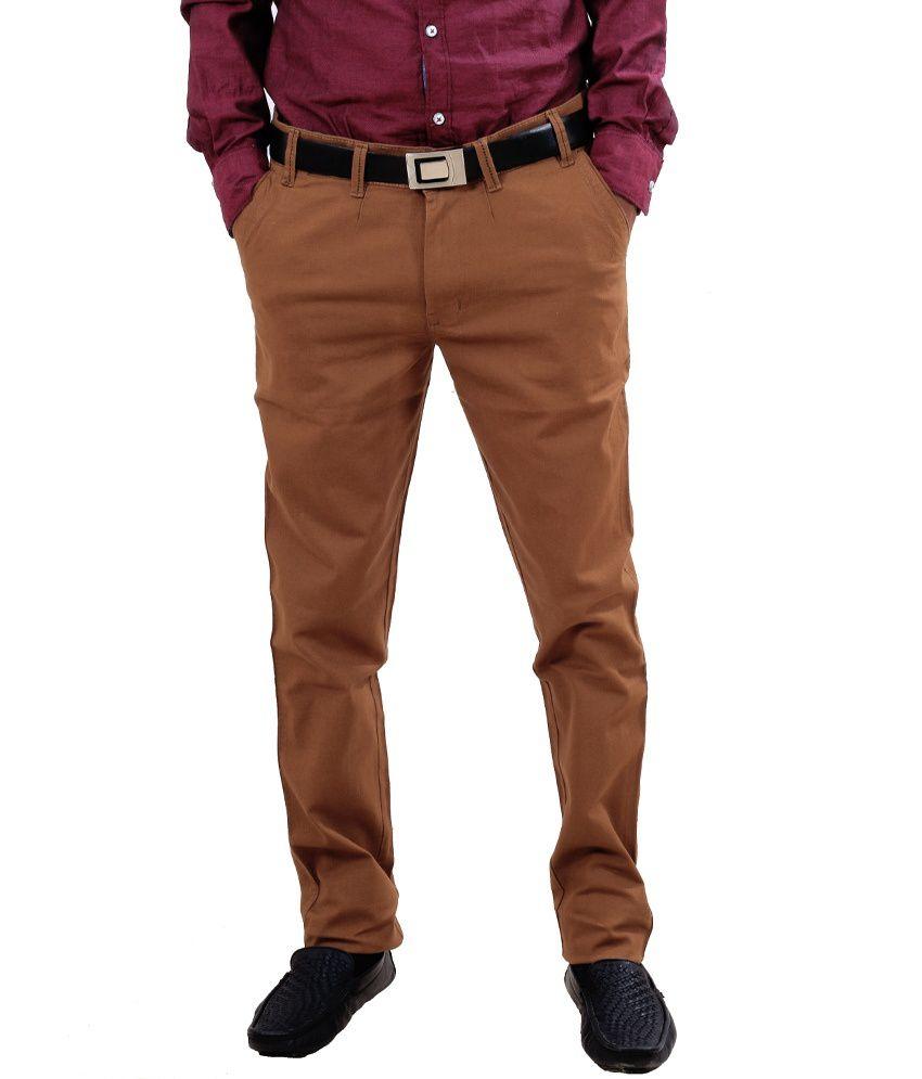 Indiweaves Brown Pure Cotton Semi Formal Trouser